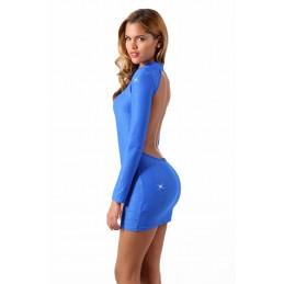 Bas Blanc Auto Fixant Couture et Motif Baroque Blanc Argent