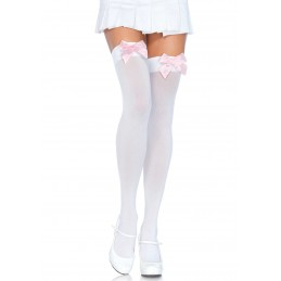 Bas Opaque Blanc Noeud Satin Rose Tendre