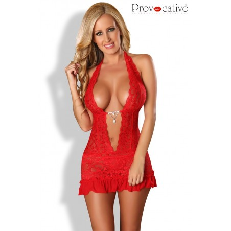 Mambo Robe & Nuisette Strassée Rouge