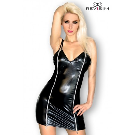 Robe Wetlook Noir Moulante Double Zip Devant