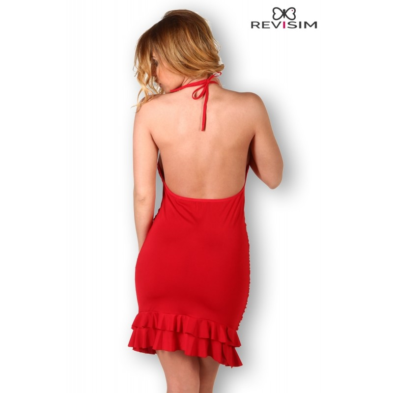 Robe Rouge Froncée et Dos Nu